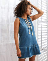 aerie Chambray Lace-Up Dress