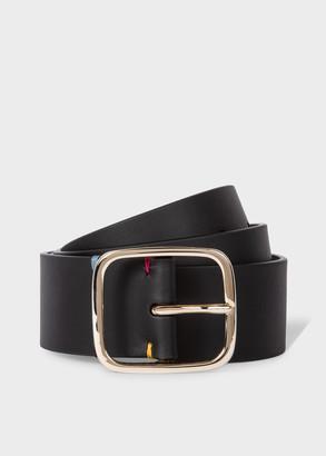 Paul Smith Women's Black Leather Belt With 'Swirl' Trim