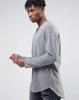 Asos Oversized Long Sleeve T-Shirt With Grandad Collar In Textured Fabric