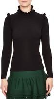 Sandro Women's Ruffle Trim Turtleneck Sweater