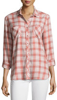 Joie Lilya Plaid Button-Down Shirt, Rose