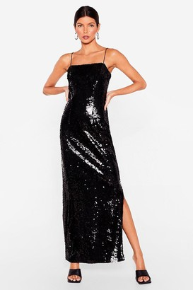 Nasty Gal Womens Sequin It All Slit Maxi Dress - Black