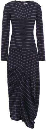 Chalayan Asymmetric Draped Striped Wool-jersey Dress