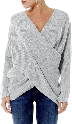 YOINS Women Cross Wrap Front Knit V Neck Irregular Hem Jumper Sweater Long Sleeves Tops
