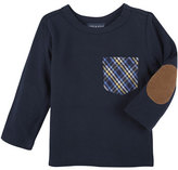 Andy & Evan Long-Sleeve Plaid-Pocket Jersey Tee, Navy, Size 3-24 Months
