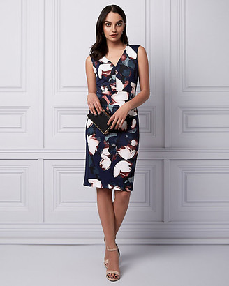 Le Château Floral Print Knit Crepe V-Neck Dress