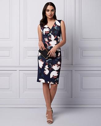 Le Château Floral Print Knit Crepe V-Neck Dress