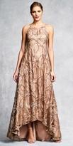 Aidan Mattox Embroidered Keyhole Slit Halter Evening Dress