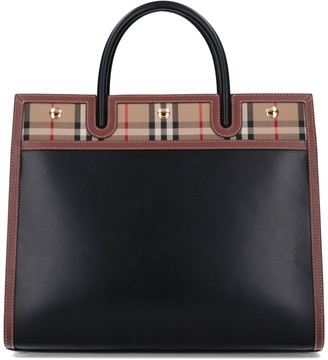 Burberry Medium Vintage Check Two-Handle Title Tote Bag