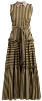 Binetti Love Time After Time Striped Tiered Cotton Shirtdress - Womens - Green