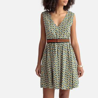 Benetton Graphic Print Stretch Cotton Dress with Pleats