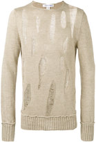 Comme des Garcons destroyed ladder stitch sweater - men - Linen/Flax - S