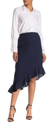 J.Crew J. Crew Floral Eyelet High/Low Ruffle Hem Skirt