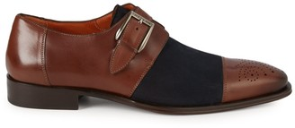 Mezlan Monk-Strap Leather Cap-Toe Oxfords