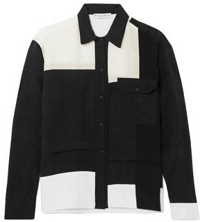 J.W.Anderson Paneled Crepe De Chine, Cotton And Washed-satin Shirt