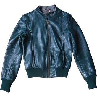 Doma Green Leather Leather Jacket for Women