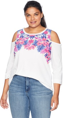 Caribbean Joe Women's Plus Size Three Quarter Sleeve Cold Shoulder Top
