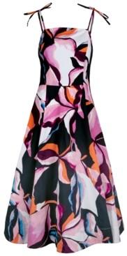 Christian Siriano New York Abstract-Print Midi Dress