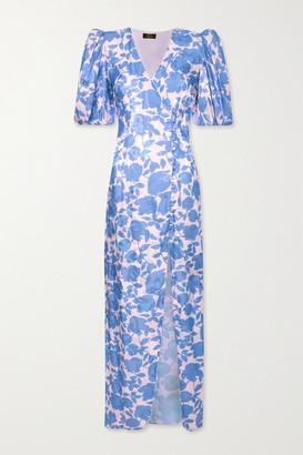 De La Vali Ohio Floral-print Satin-jacquard Dress - Blue