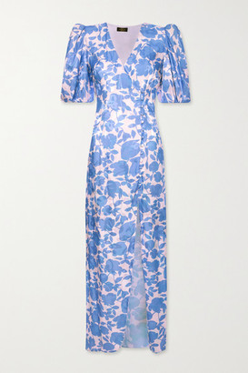 De La Vali Ohio Floral-print Satin-jacquard Dress