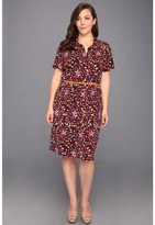 Klein Plus Anne Plus Size Abstract Floral Printed Dress (Amethyst Multi) - Apparel