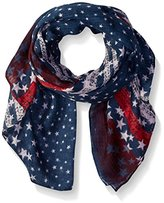 D&Y Women's Textured Border Americana Scarf with Stripes and Stars