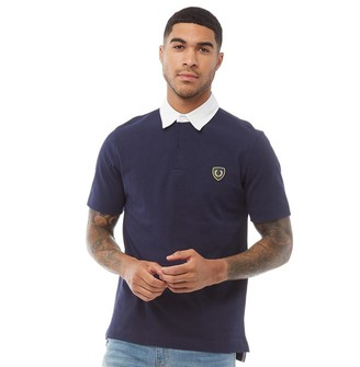 Fred Perry Mens Jersey Shield Badge Shirt Carbon Blue