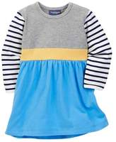 Toobydoo Striped Sleeve Colorblock Dress (Baby Girls)