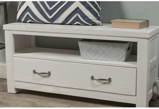 "Greyleighâ""¢ Bedlington Wood Storage Bench Greyleigha Upholstery: White"
