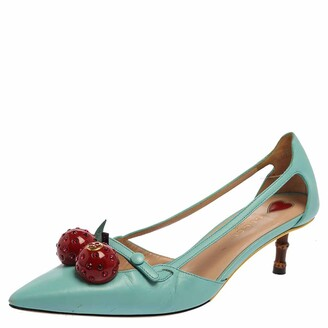 Gucci Blue Leather Unia Cherry Bamboo Heel Pointed Toe Pump Size 37.5