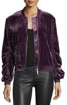 Rebecca Minkoff Kaya Zip-Front Ruched Velvet Bomber Jacket