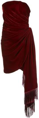 Oscar de la Renta fringed hanging drape detail dress