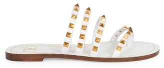 Valentino Rockstud Flair Thong Leather Sandals