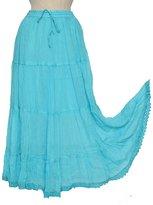 KayJay Styles KayJayStyles Solid Hippie Gypsy Bohemian Full Circle Ruffle Maxi Long Cotton Skirt
