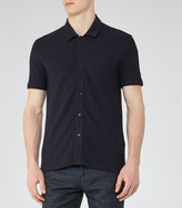 Reiss Reiss Albert - Button Through Shirt In Blue