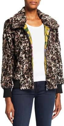 Johnny Was Leopard Faux Fur Bomber Jacket