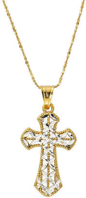 Silver Cross Fine Jewelry Made in Italy Womens 24K Gold Over Pendant Necklace