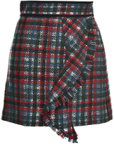 MSGM Metallic Check Ruffle Mini Skirt