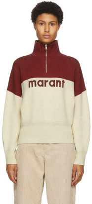 Etoile Isabel Marant Red and Beige Linn Half-Zip Sweater