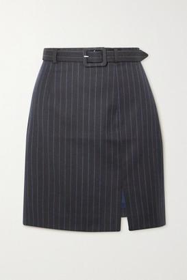 ALEXACHUNG Whatever Belted Pinstriped Wool-blend Mini Skirt - Navy