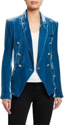L'Agence Kenzie Velvet Double-Breasted Blazer