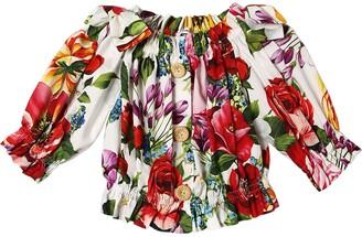 Dolce & Gabbana Flower Print Cotton Poplin Crop Top