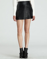 Rachel Zoe Venice Leather Miniskirt, Black
