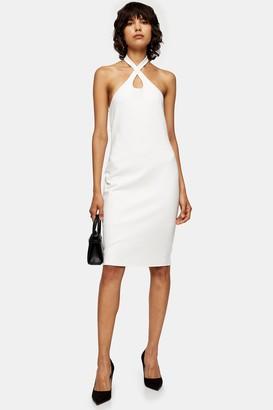 Topshop Ivory Cross Halter Neck Midi Dress