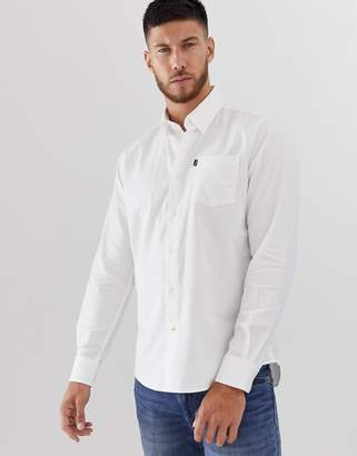 Barbour Stanley slim fit brushed cotton long sleeve shirt in white