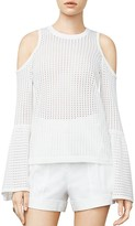 BCBGMAXAZRIA Lucia Cold-Shoulder Eyelet Knit Sweater
