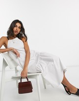Asos Design DESIGN cotton poplin halter midi sundress with pep hem and contrast ties in white
