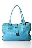 Lambertson Truex Light Blue Leather Silver Tone Hardware Tote Handbag