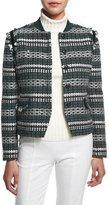 Tory Burch Norfolk Tweed Button-Front Jacket, Horseback Tweed