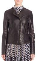 St. John Scallop-Trim Leather Jacket